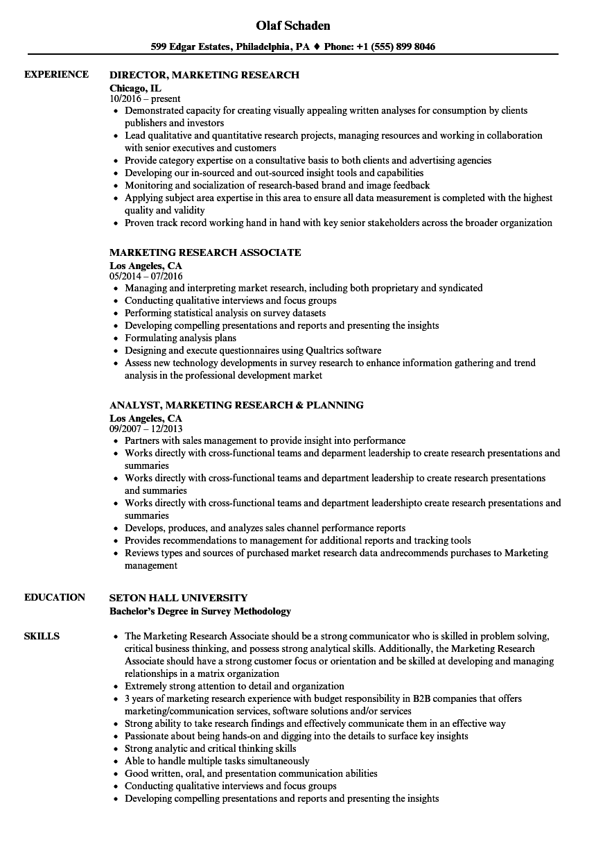 marketing research resume samples