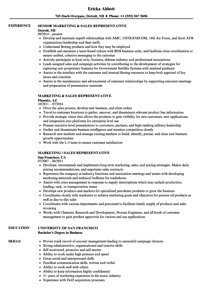 Marketing & Sales Representative Resume Samples | Velvet Jobs