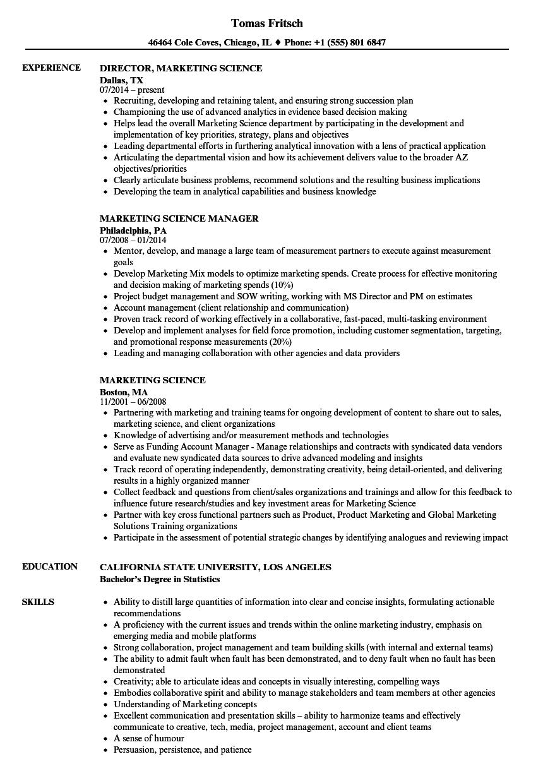 marketing science resume samples