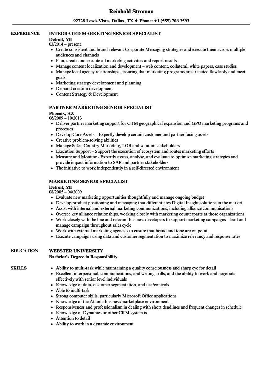 Marketing Senior Specialist Resume Samples | Velvet Jobs