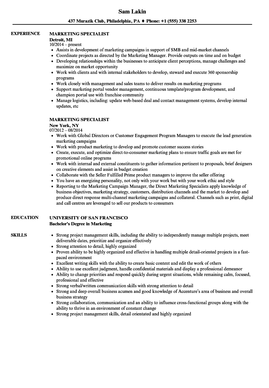 marketing specialist resume samples velvet jobs