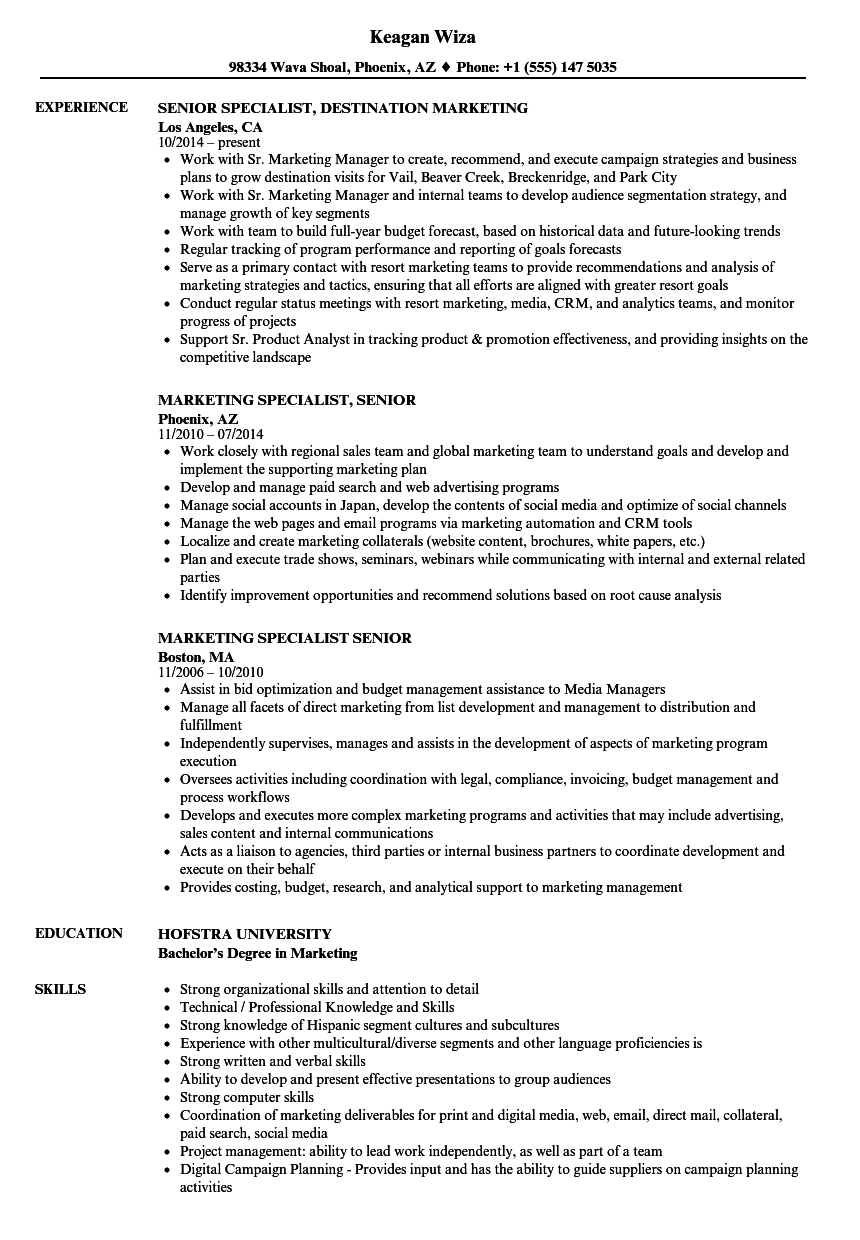 Marketing Specialist Senior Resume Samples | Velvet Jobs