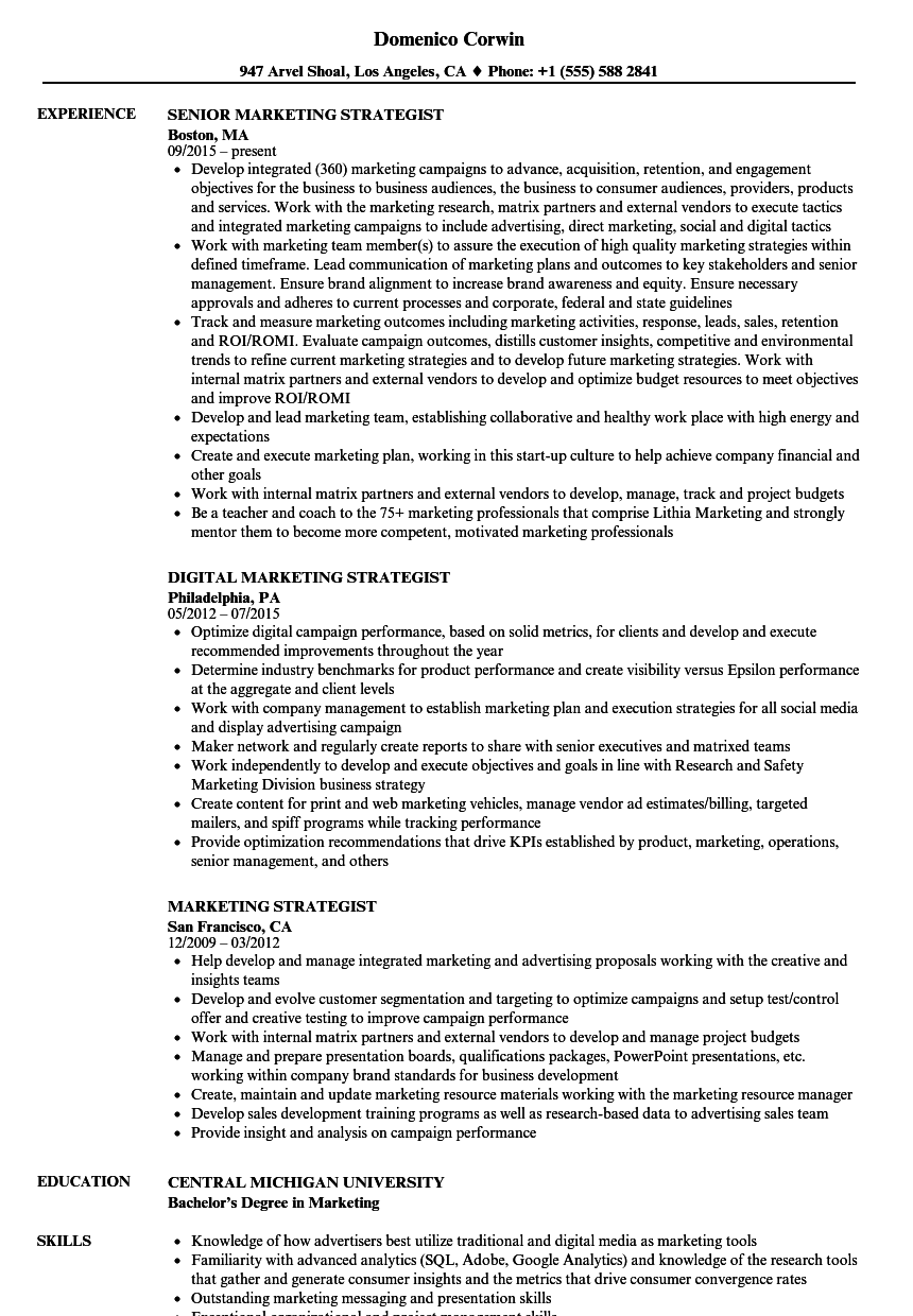 Marketing Strategist Resume Samples Velvet Jobs