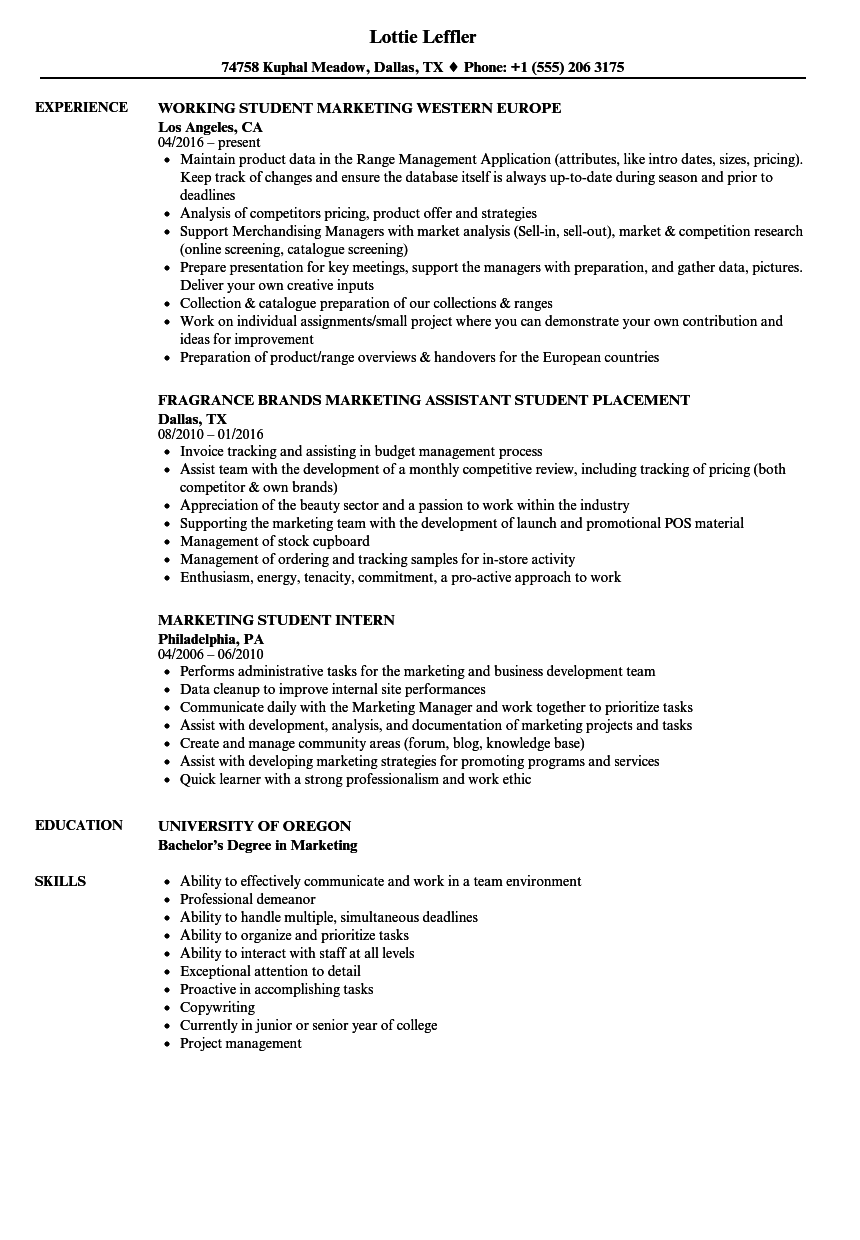 resume Student Resume Examples marketing student resume samples velvet jobs download sample as image file