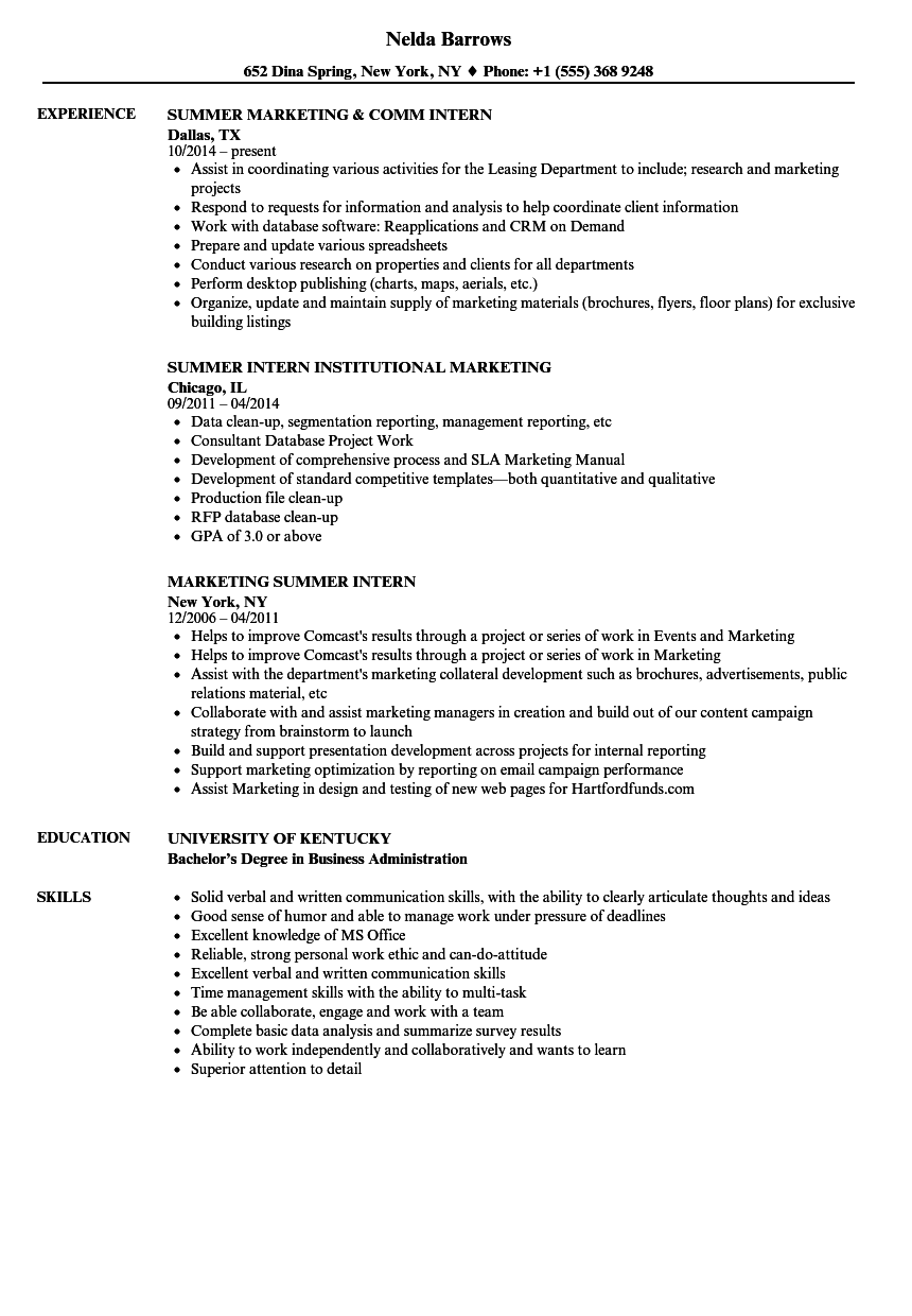 Marketing Summer Intern Resume Samples | Velvet Jobs