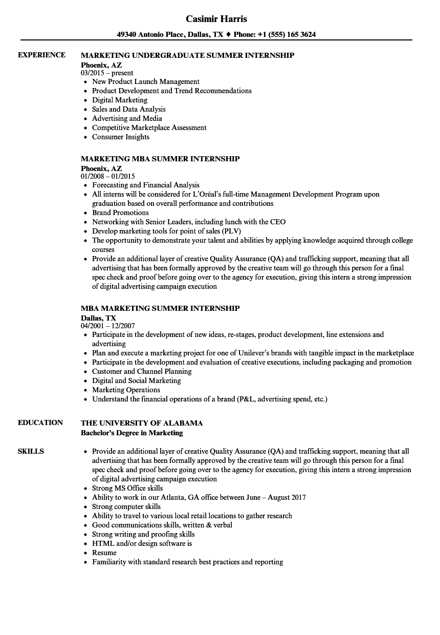 marketing summer internship resume samples