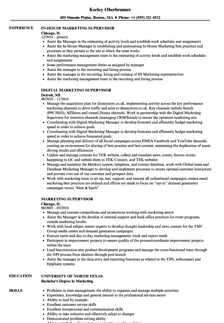 Download Marketing Supervisor Resume Sample As Image File  Resume For Supervisor