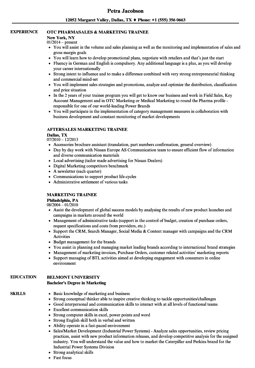 marketing trainee resume samples velvet jobs