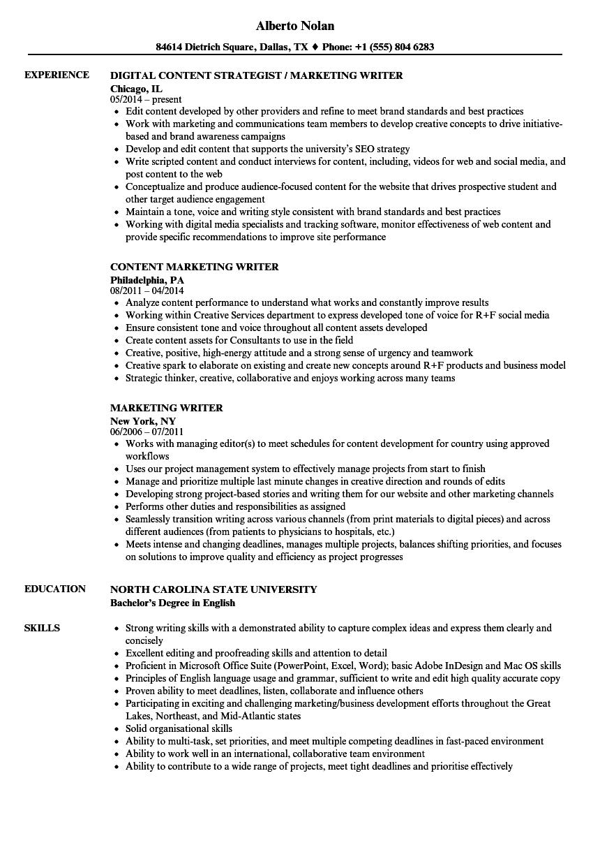 Marketing Writer Resume Samples | Velvet Jobs