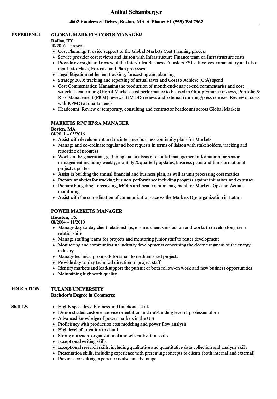 Markets Manager Resume Samples | Velvet Jobs