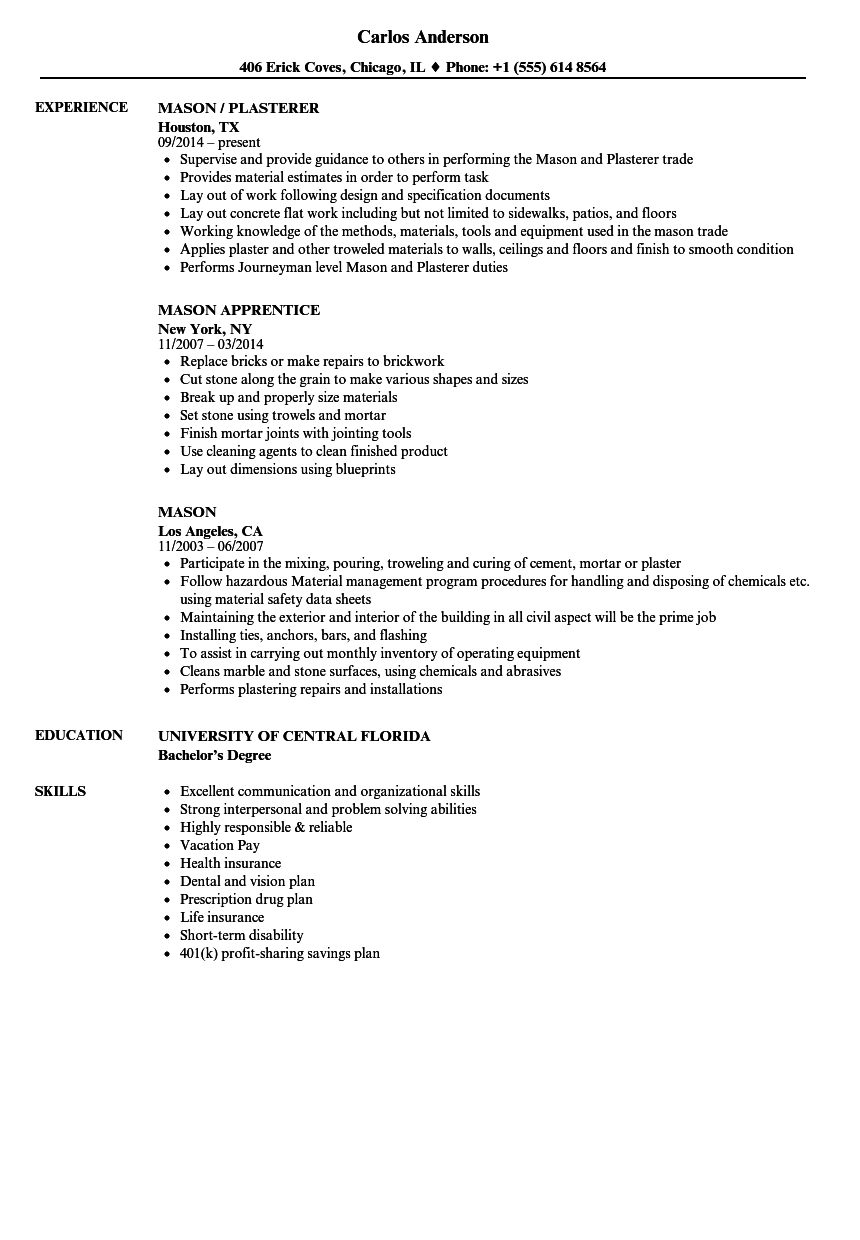 Mason Resume Samples   Velvet Jobs