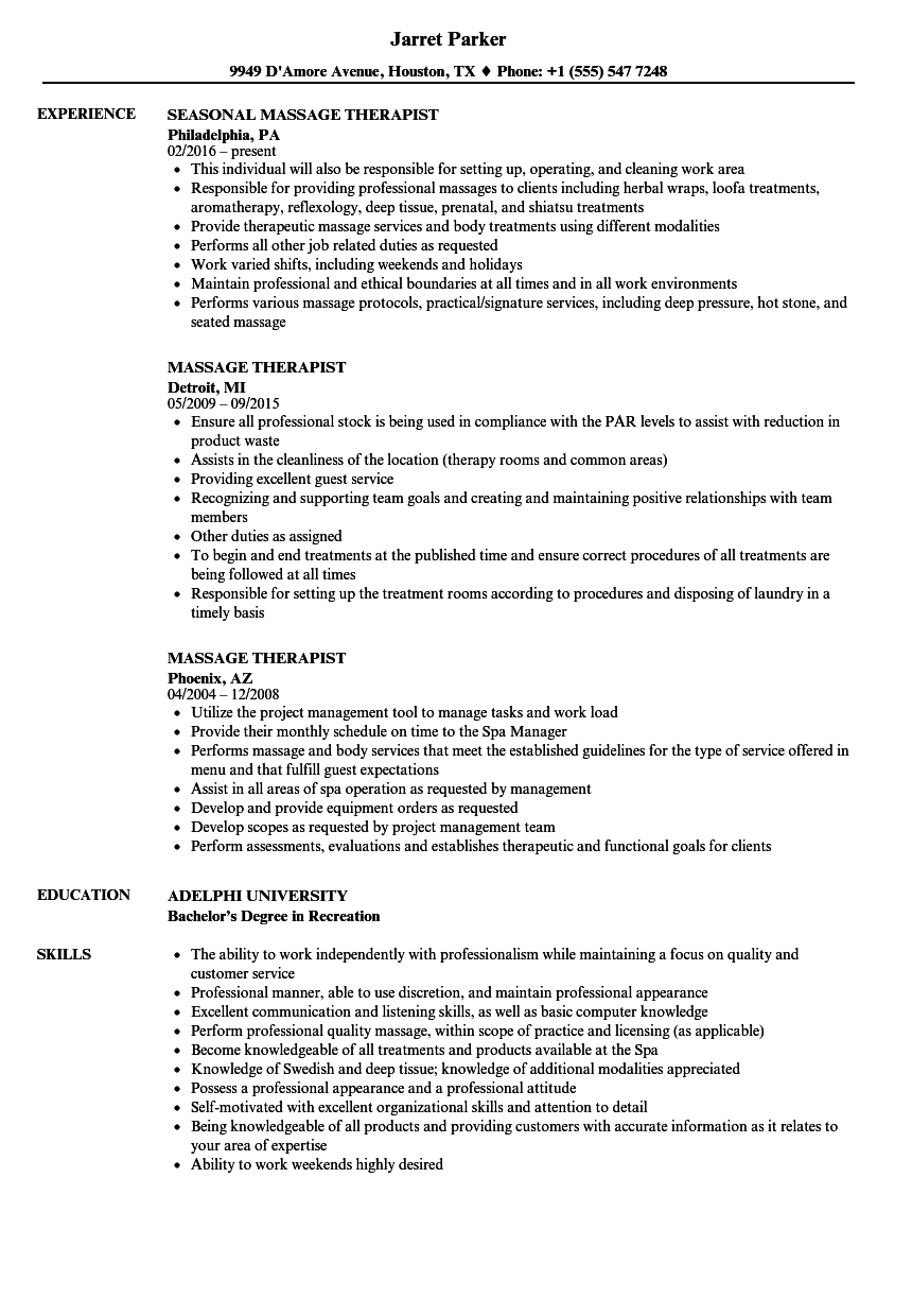 Velvet Jobs  Sample Massage Therapist Resume