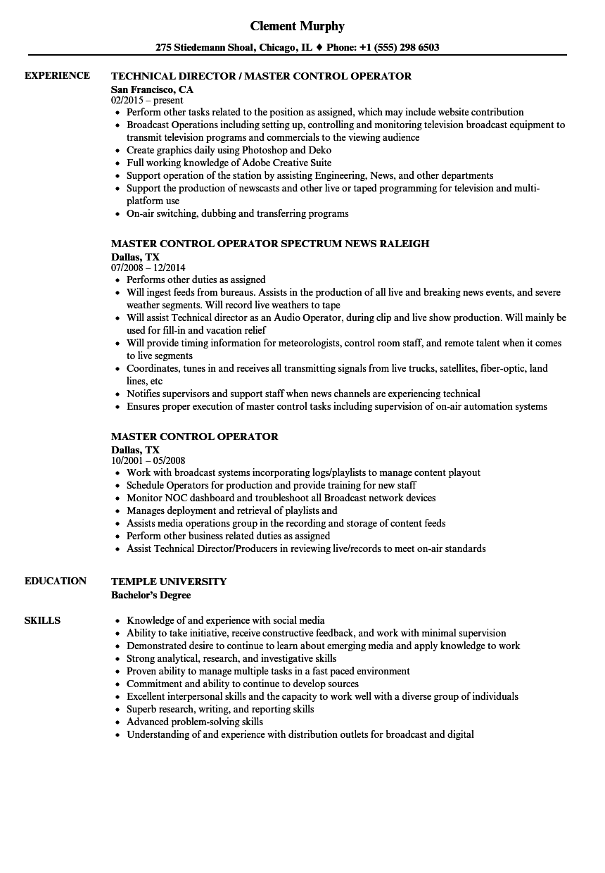 download master control operator resume sample as image file - Switchboard Operator Resume