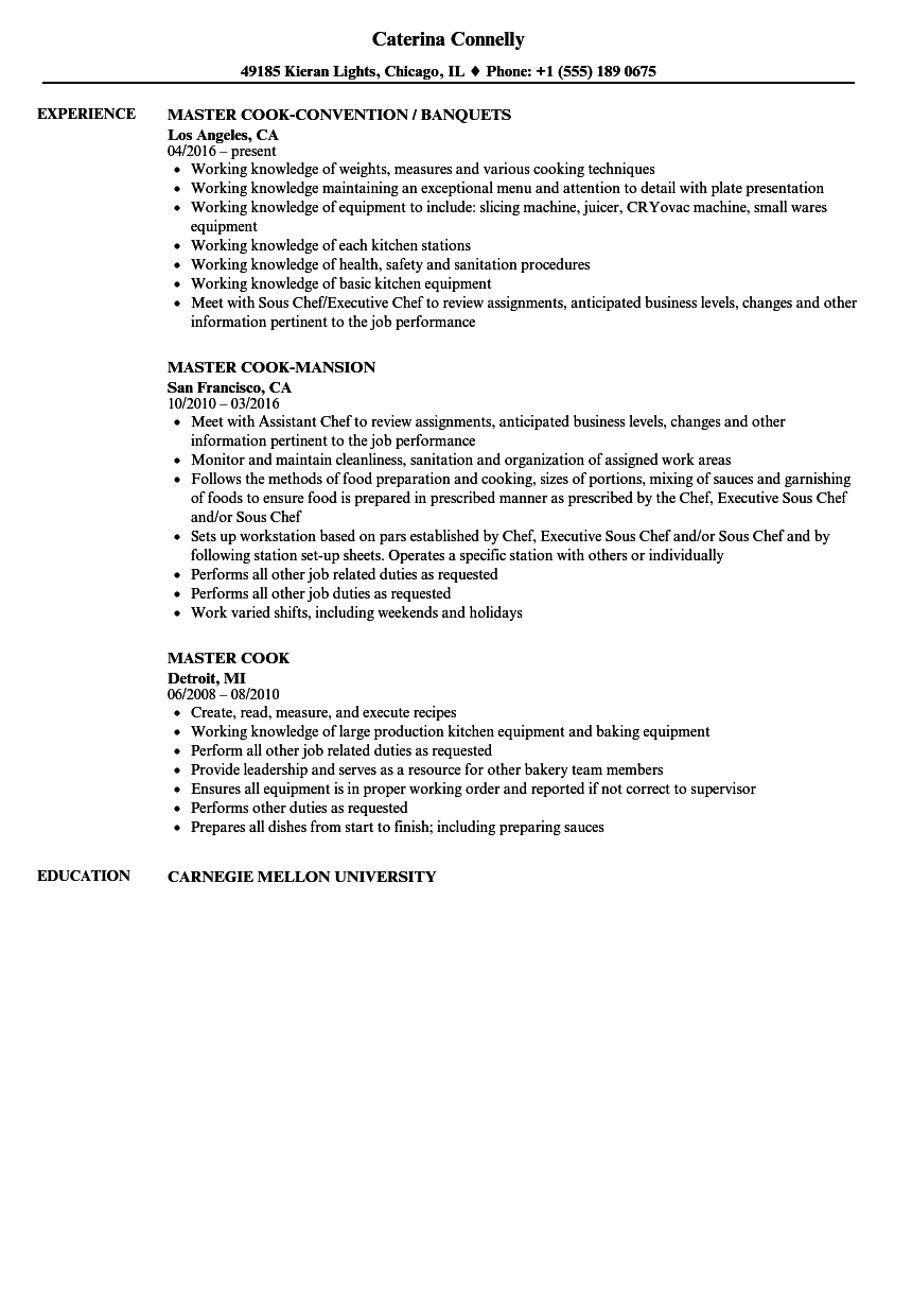 master cook resume samples velvet jobs