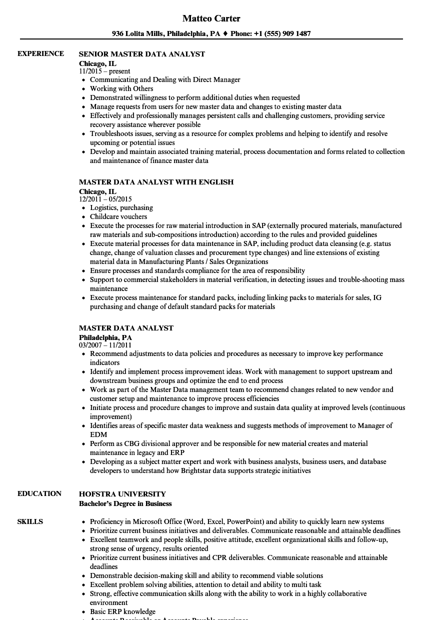 Master Data Analyst Resume Samples Velvet Jobs