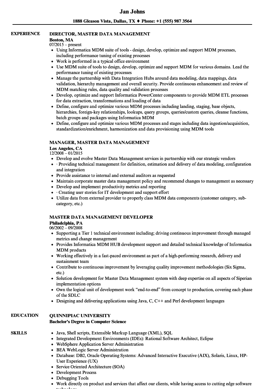 Master Data Management Resume Samples