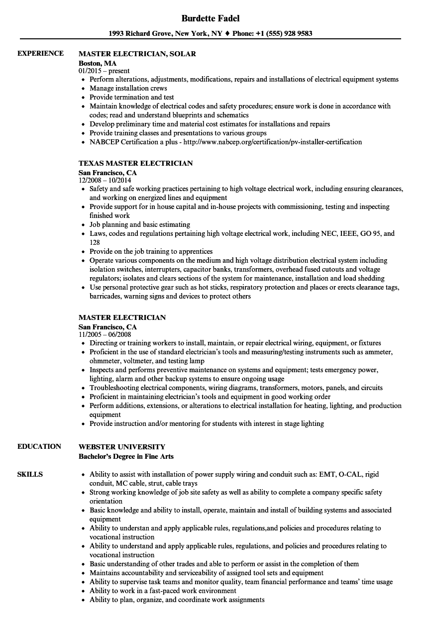 Master Electrician Resume Samples | Velvet Jobs