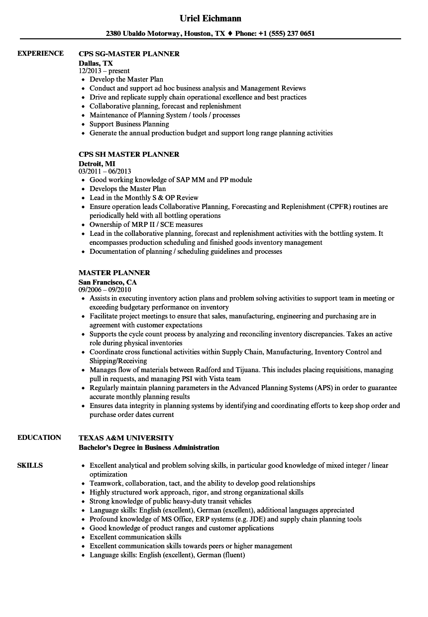 Master Planner Resume Samples | Velvet Jobs