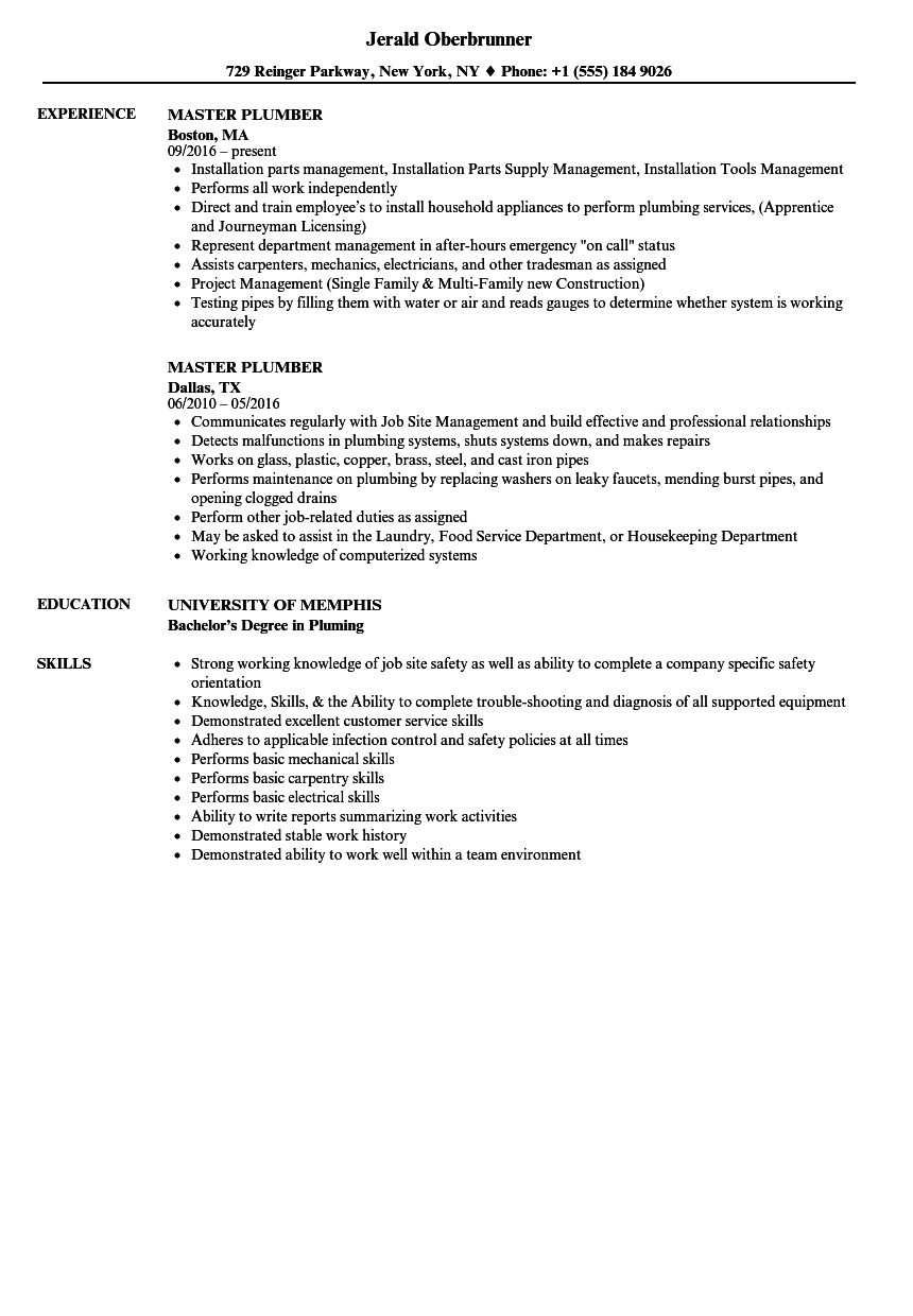 Master Plumber Resume Samples Velvet Jobs