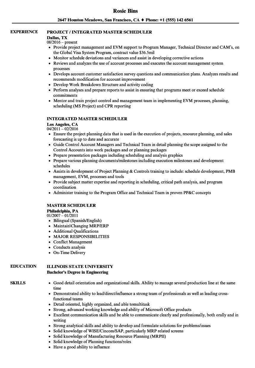 master scheduler resume samples
