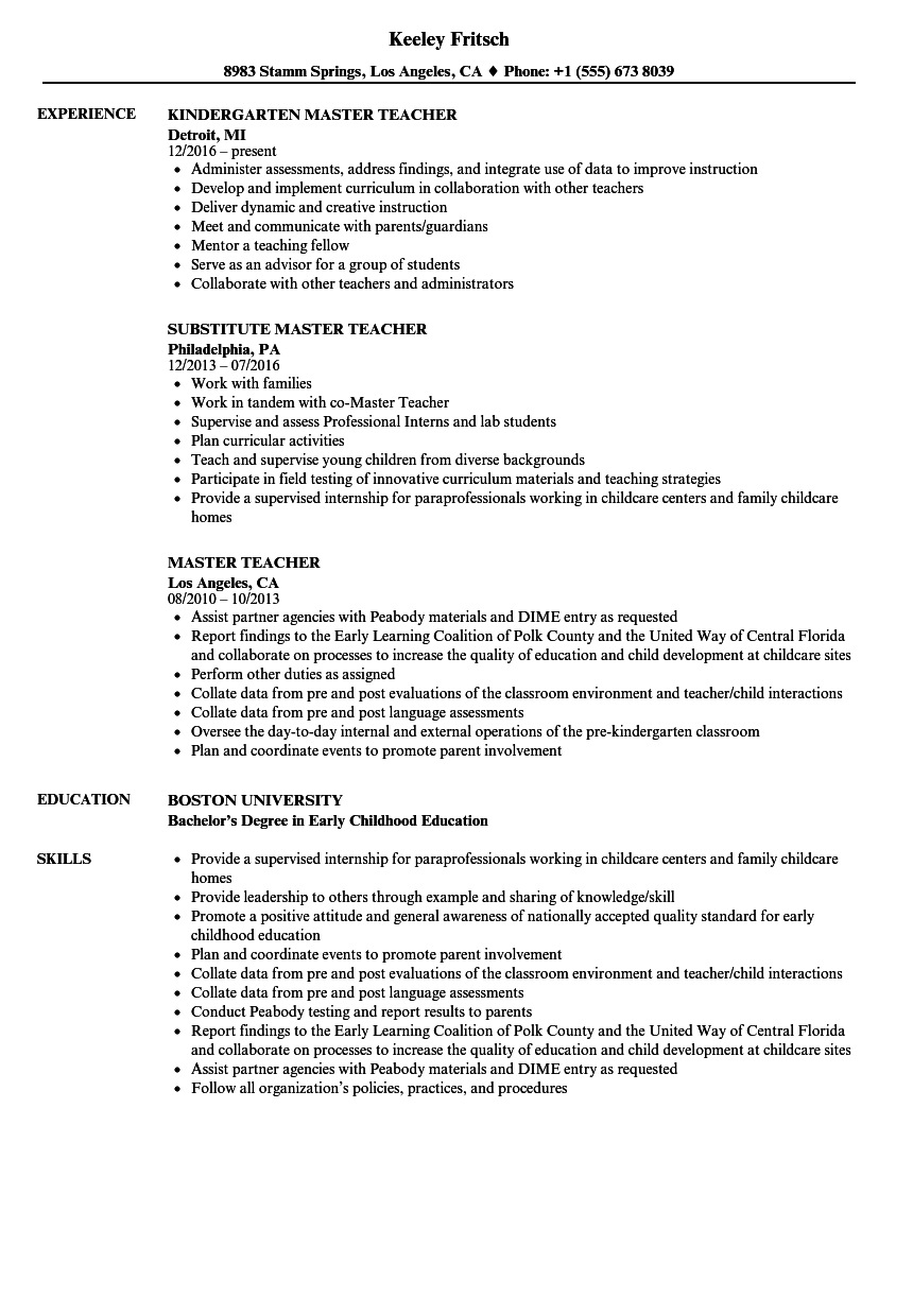 Master Teacher Resume Samples Velvet Jobs