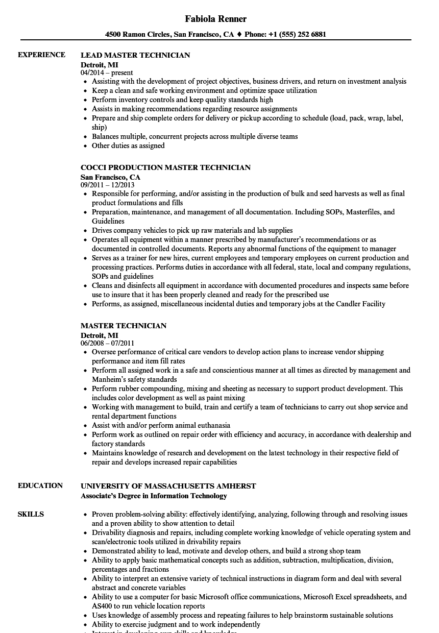 Master Technician Resume Samples | Velvet Jobs