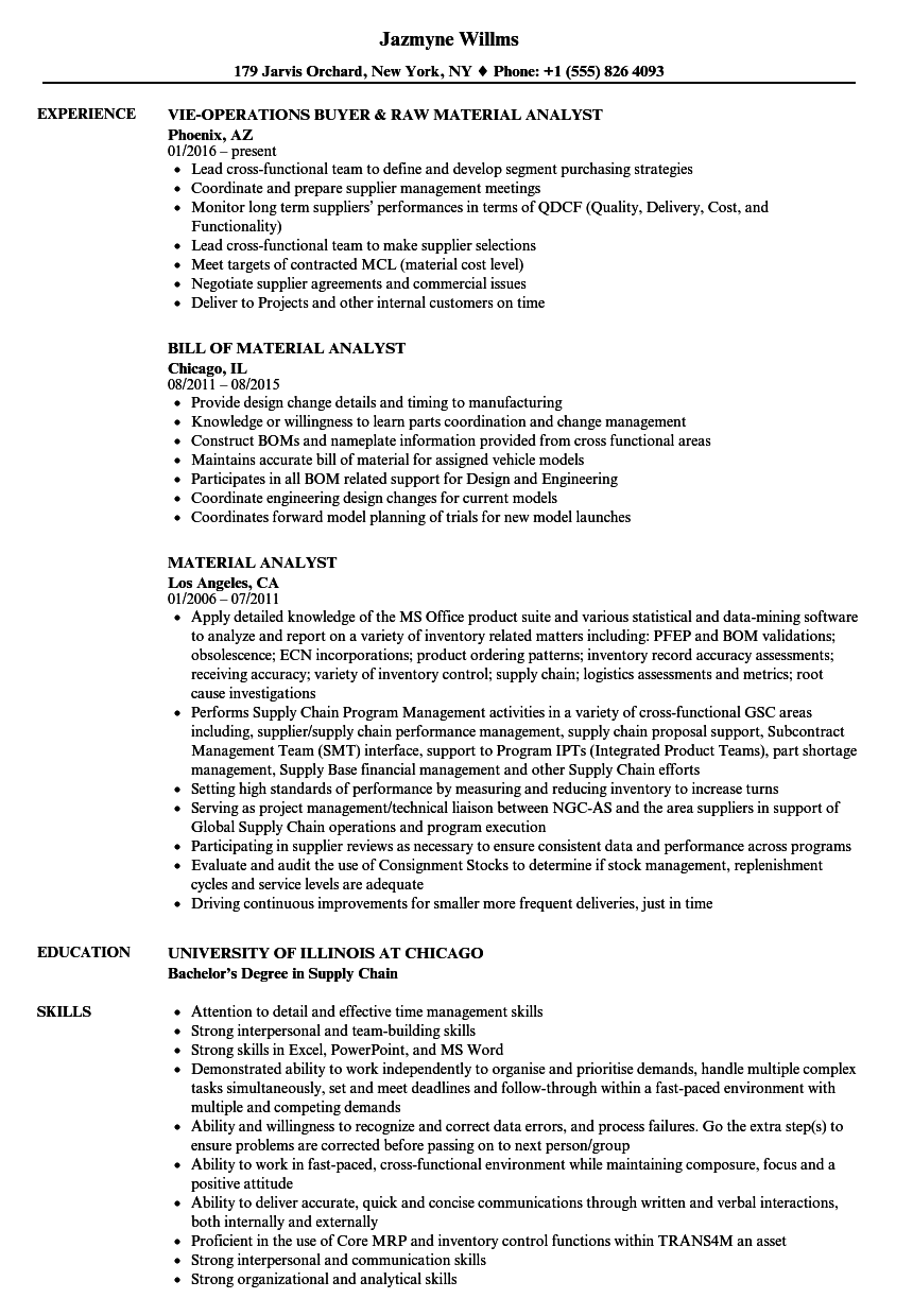 Material Analyst Resume Samples Velvet Jobs