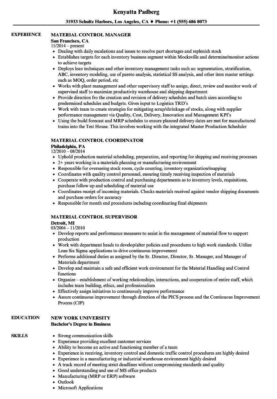 Material Control Resume Samples | Velvet Jobs