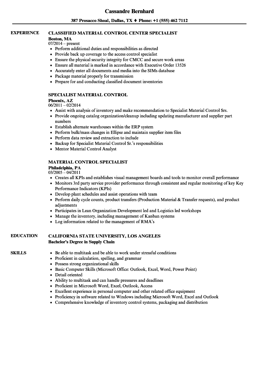 download material control specialist resume sample as image file