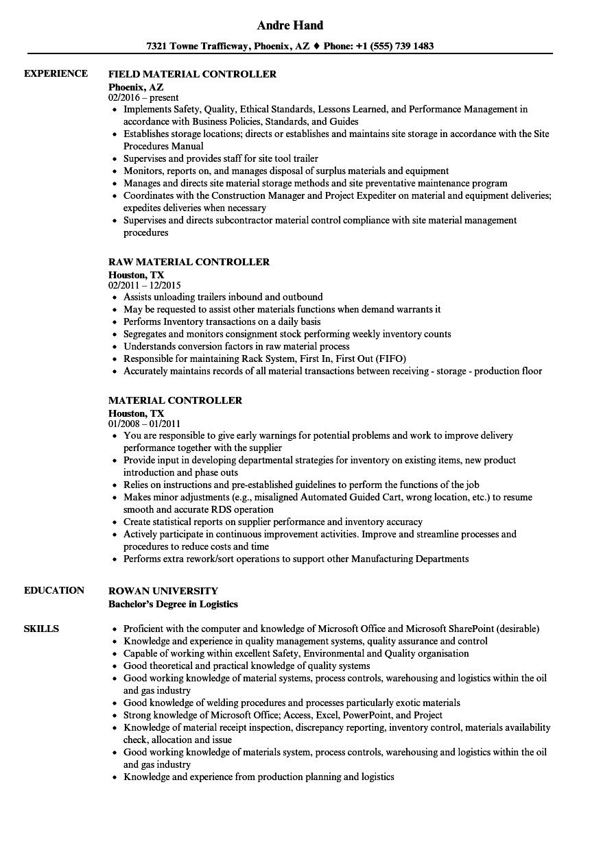 Material Controller Resume Samples Velvet Jobs