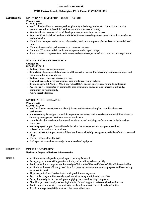 Material Coordinator Resume Samples Velvet Jobs