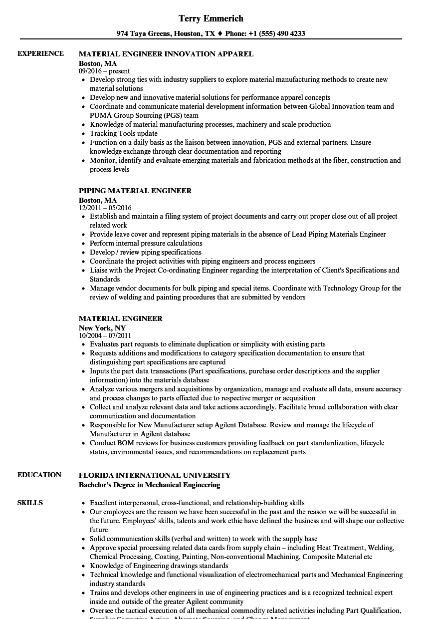 Material Engineer Resume Samples | Velvet Jobs