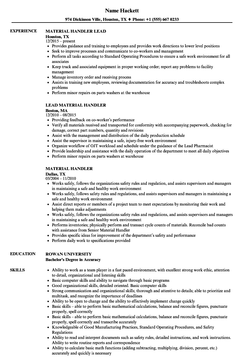 Material Handler Resume Samples | Velvet Jobs