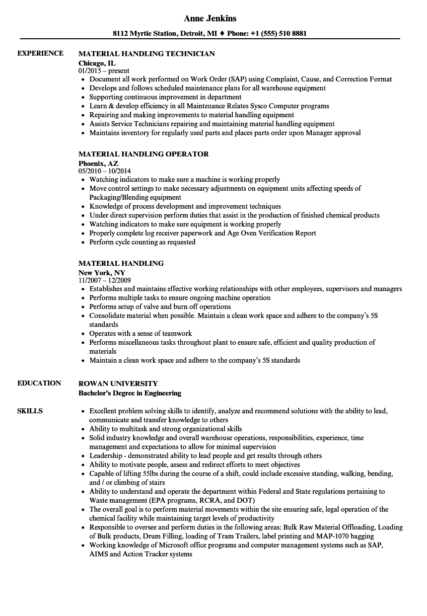 Material Handling Resume Samples Velvet Jobs