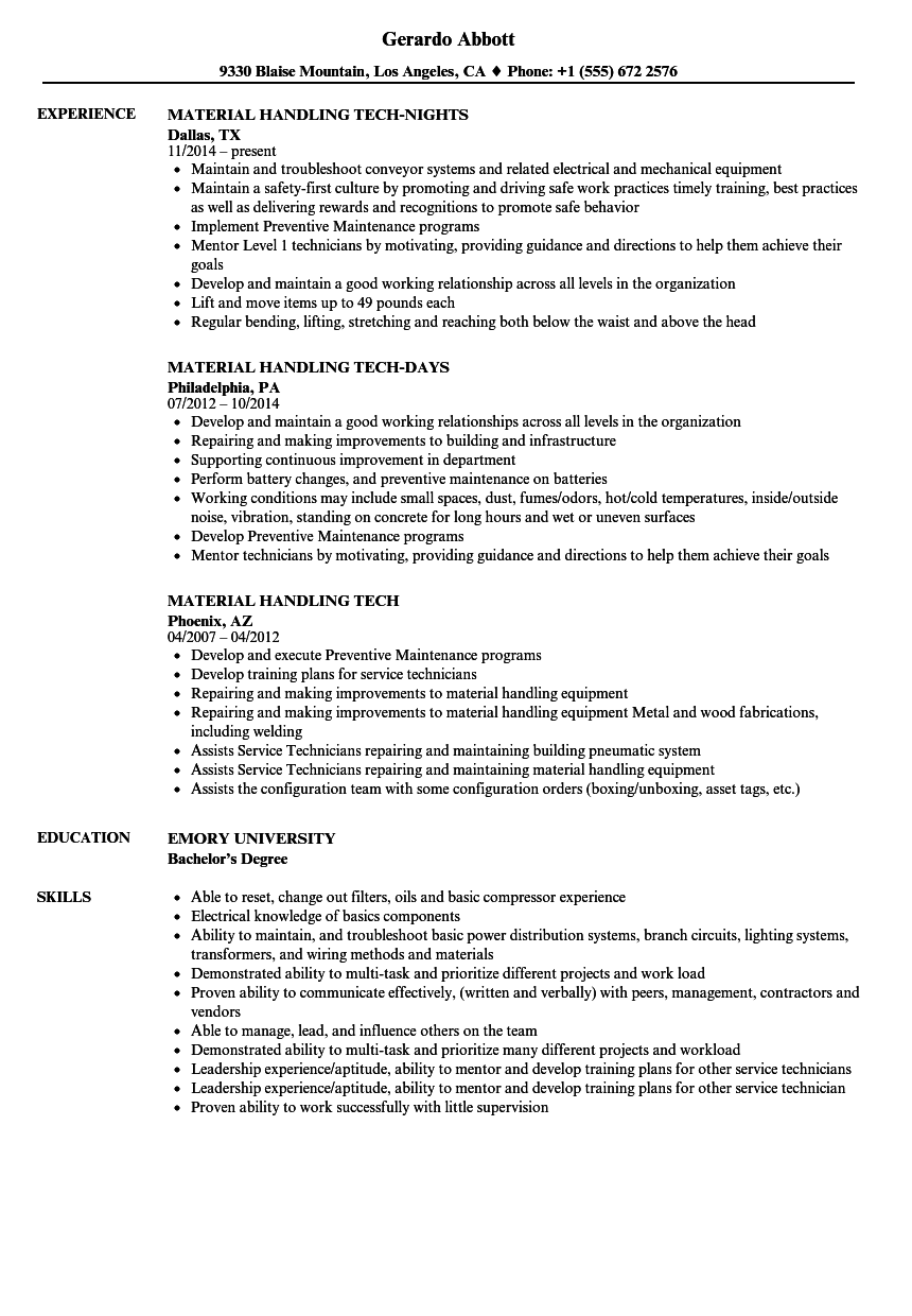 Material Handling Tech Resume Samples | Velvet Jobs