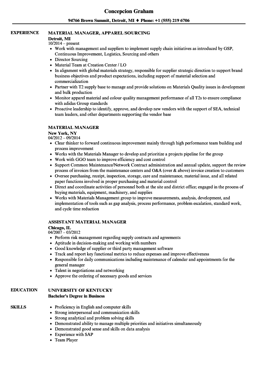 Material Manager Resume Samples | Velvet Jobs