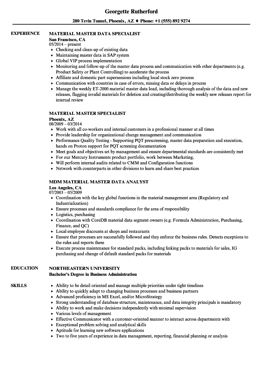 Material Master Resume Samples | Velvet Jobs