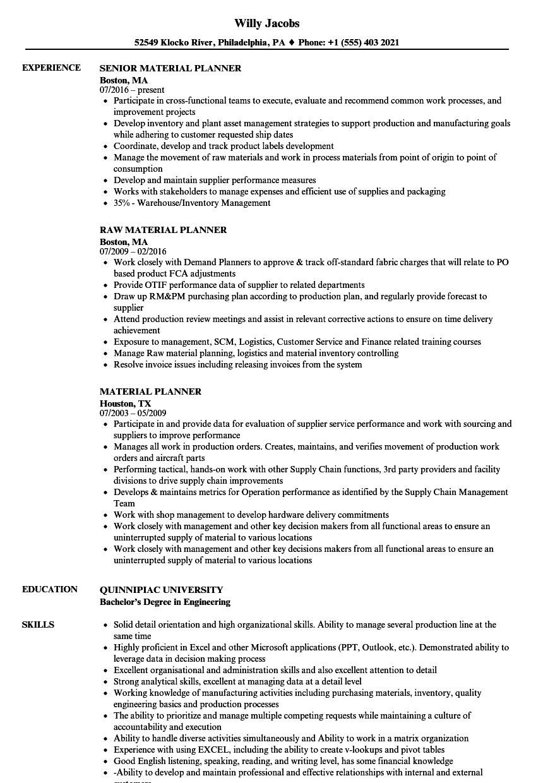 material planner resume samples