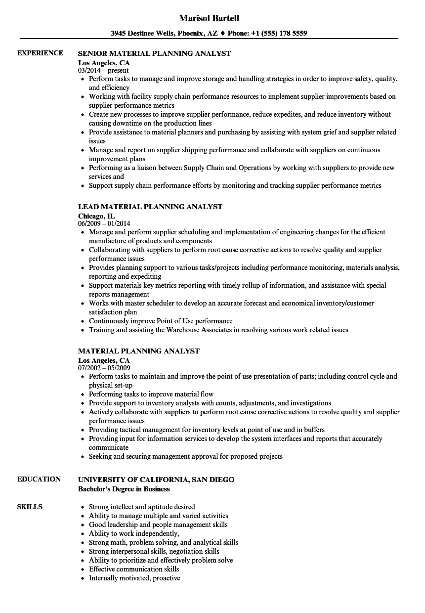 download material planning analyst resume sample as image file