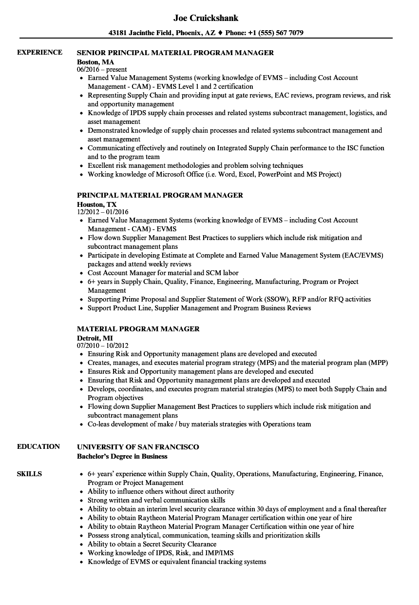 material program manager resume samples