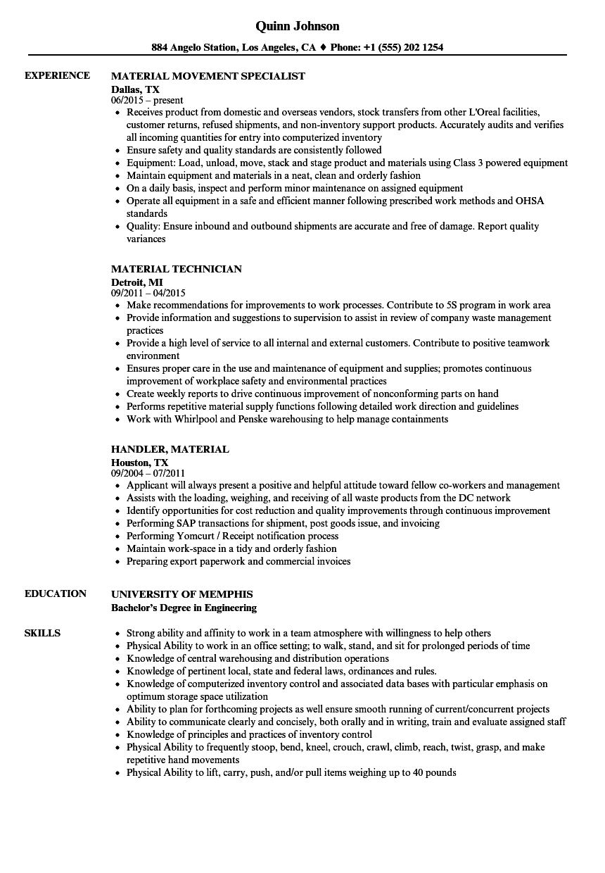 Download Material Resume Sample As Image File