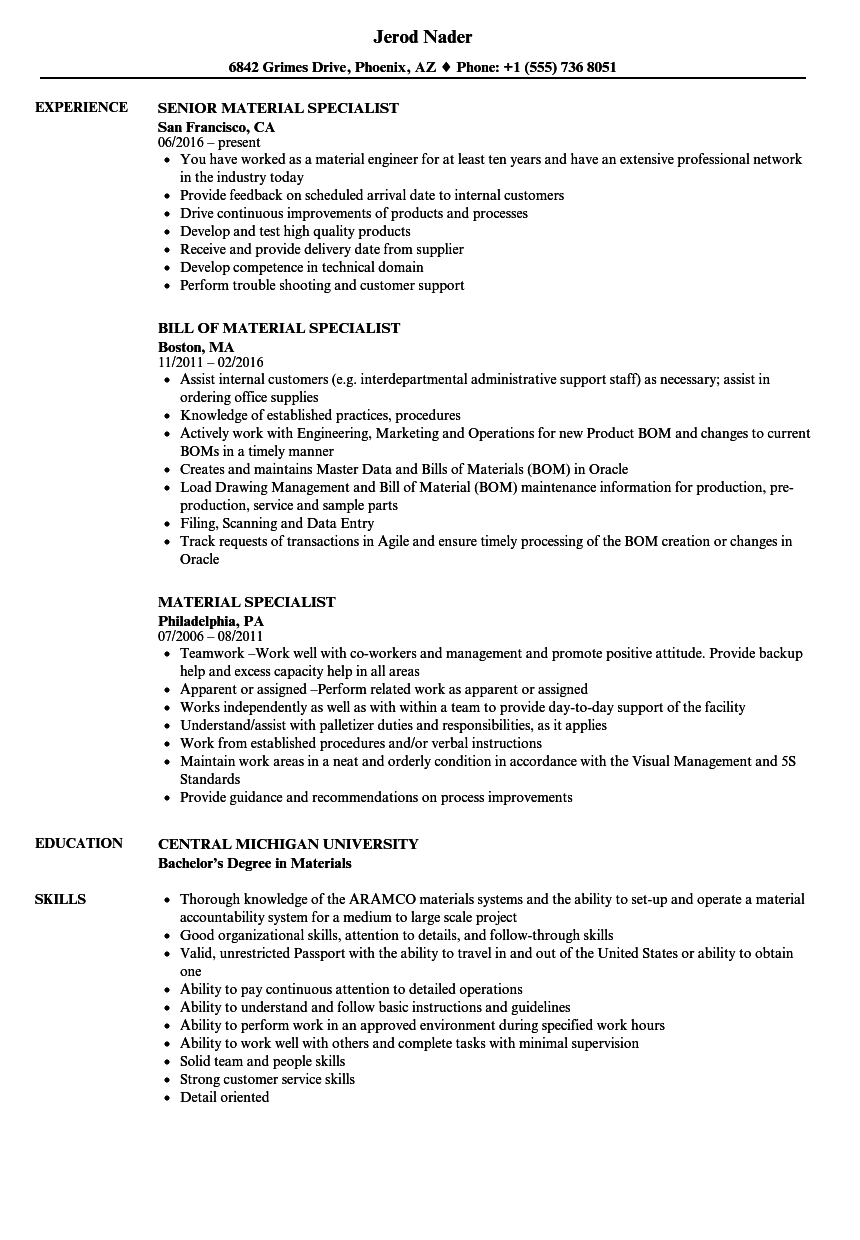 Material Specialist Resume Samples | Velvet Jobs