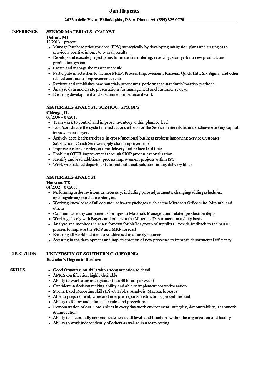 materials analyst resume samples
