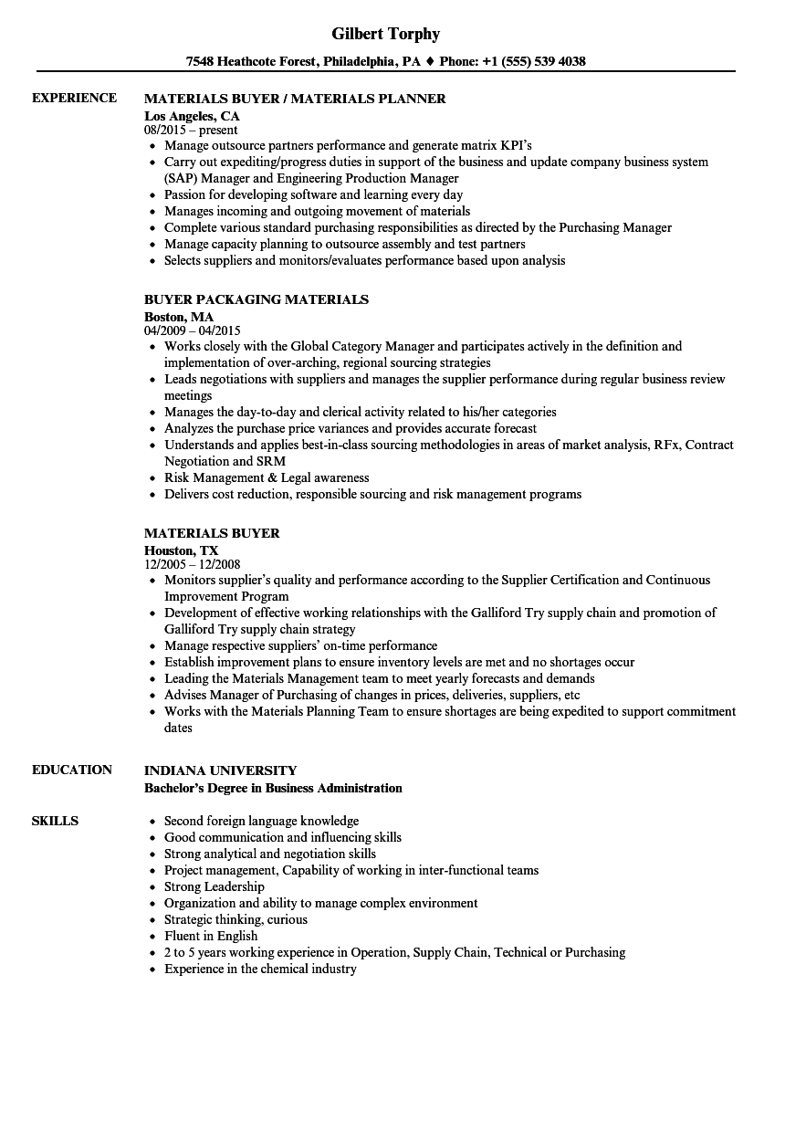 materials buyer resume samples
