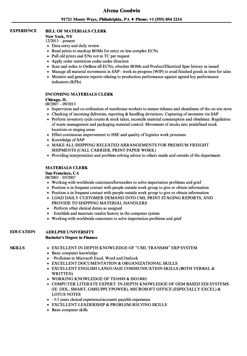 Materials Clerk Resume Samples | Velvet Jobs