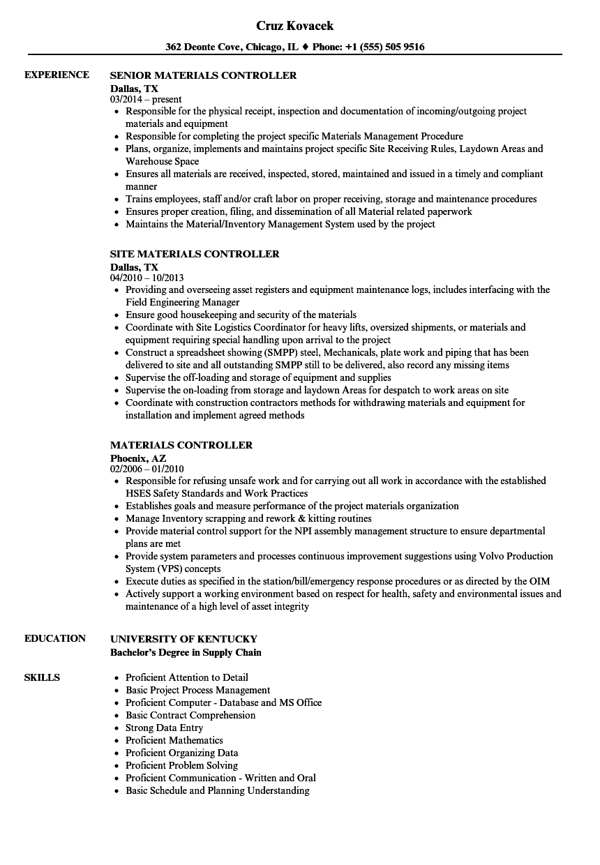 materials controller resume samples velvet jobs