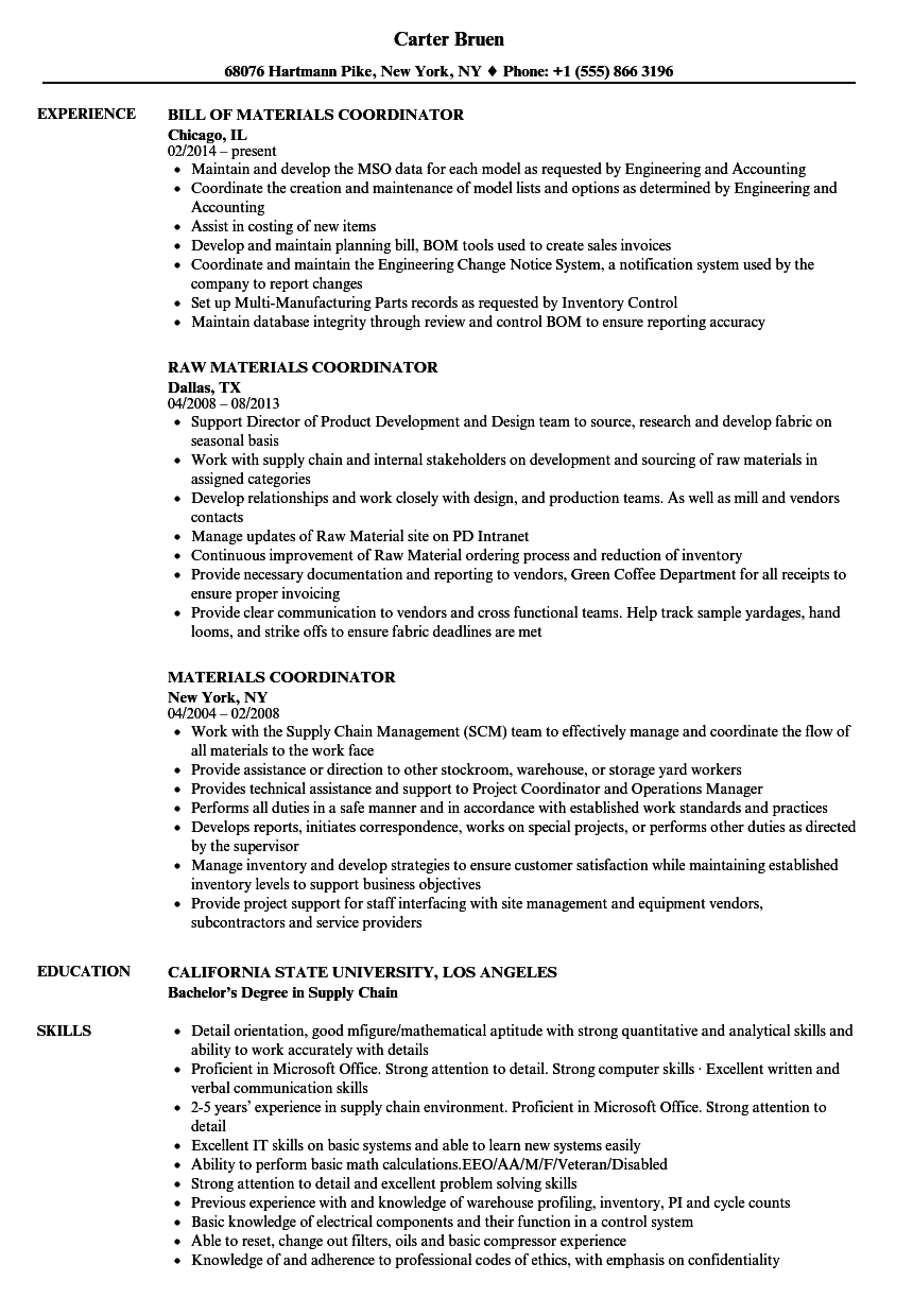 Materials Coordinator Resume Samples Velvet Jobs