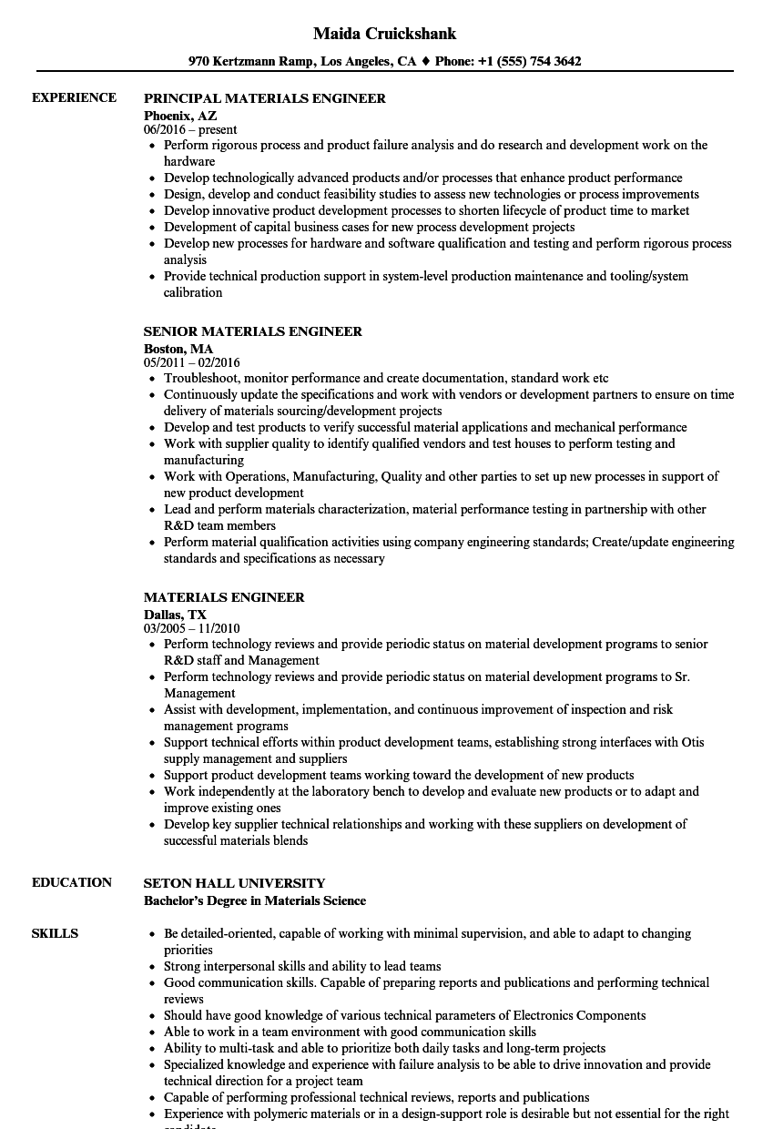 Materials Engineer Resume Samples | Velvet Jobs