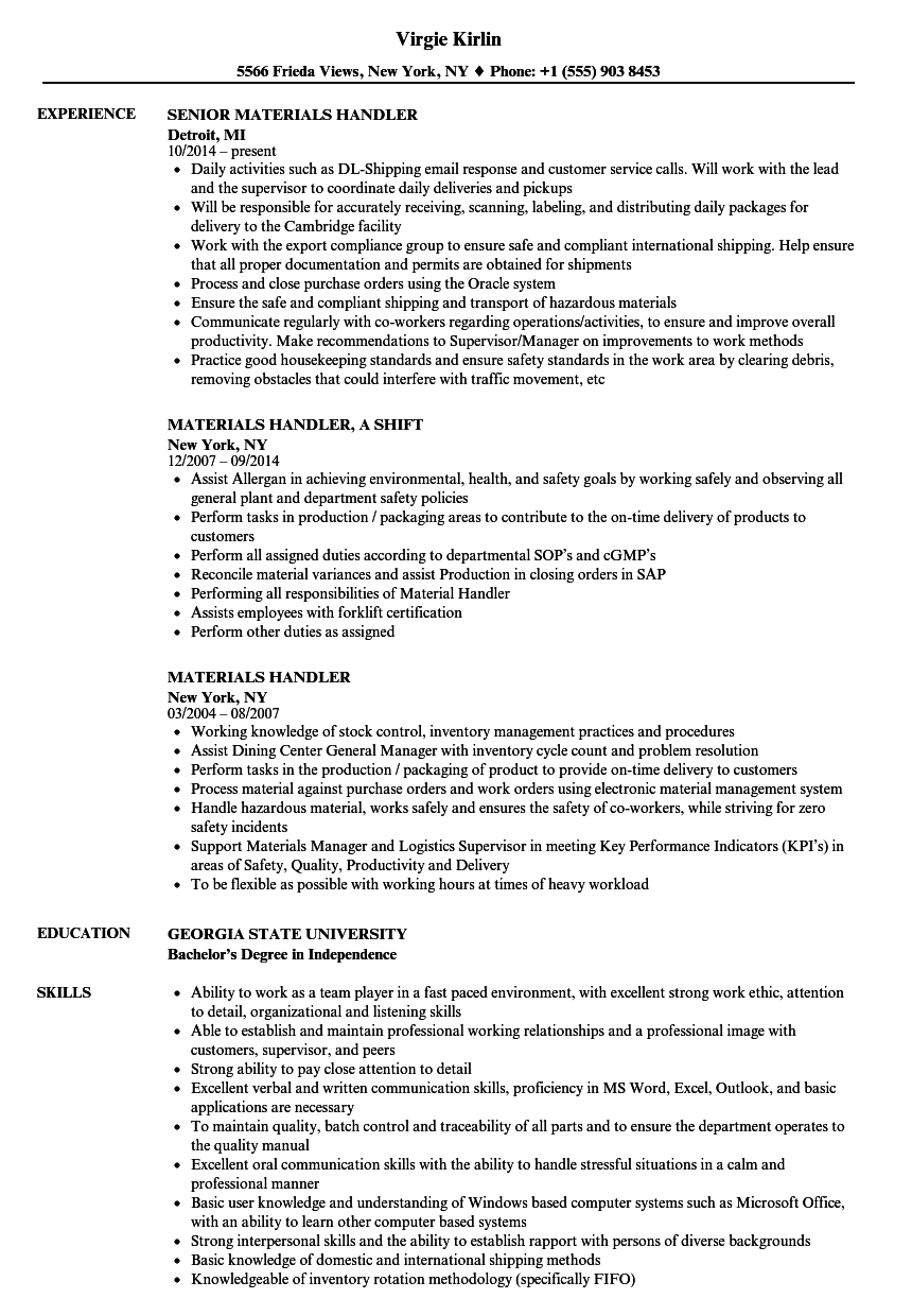 Materials Handler Resume Samples Velvet Jobs