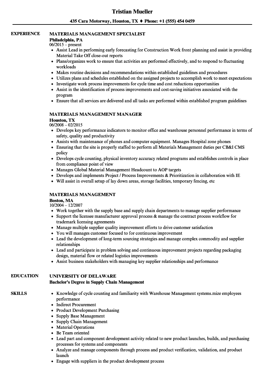 materials management resume samples